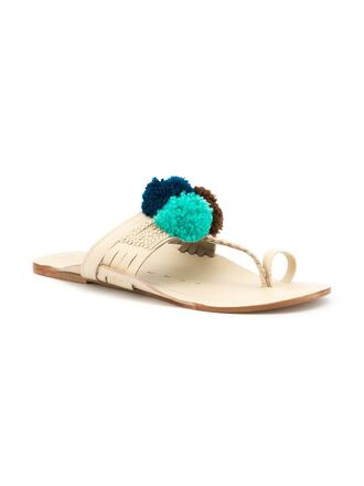 shoes pom poms metallic shoes gold sandals