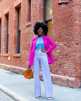 coat blazer pink blazer pants lilac pants top blue top wide-leg pants colorful