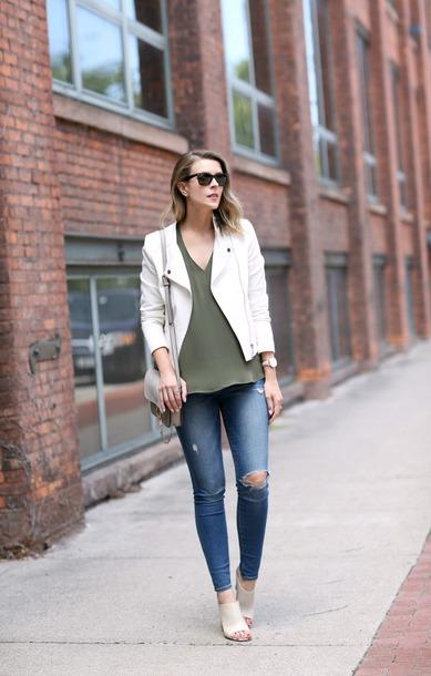 pennypincherfashion blogger jacket top jeans bag jewels