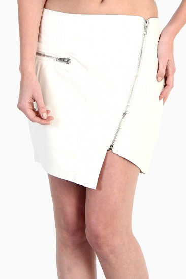LoveMelrose.com From Harry & Molly | ASYMMETRICAL ZIPPER FAUX LEATHER SKIRT - White