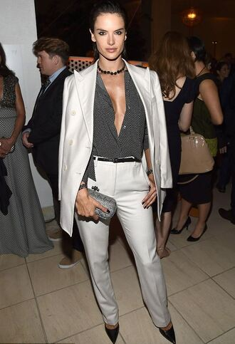 blouse pants suit alessandra ambrosio pumps polka dots necklace model