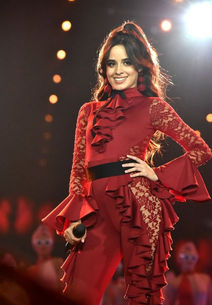 blouse top lace red ruffle camila cabello mtv ema awards pants jumpsuit