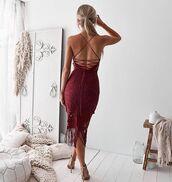 dress,two sisters the label,khaleesi,lace dress,red,burgundy,burgundy lace dress,midi dress,mid length dress,burgundy dress,bridesmaid,birthday dress,fringes