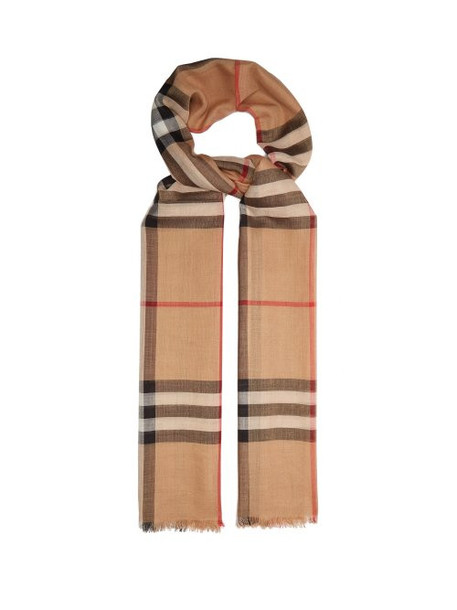 Burberry - House Check Wool And Silk Blend Scarf - Womens - Camel