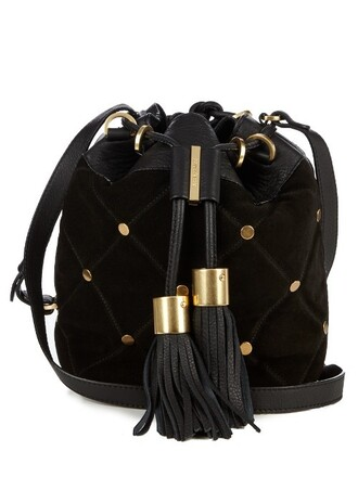 cross bag bucket bag suede black