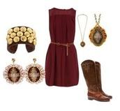 dress,burgundy,belt,mesh,mesh panel,boots,cowboy boots