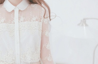 top white lace top collared shirts buttons