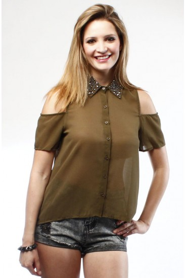 LoveMelrose.com From Harry & Molly | SHEER BLOUSE WITH BEADED COLLAR AND CUT OUT SHOULDER FROM LOVE MELROSE- OLIVE