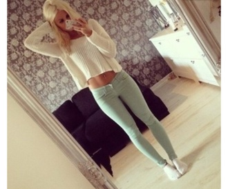 sweater pretty white white sweater knitted sweater mint green skinny pants trousers jeans