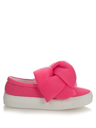 bow mesh pink shoes