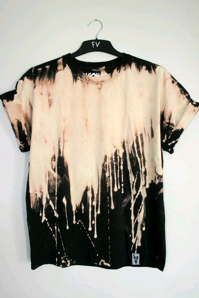 top shirt t-shirt diy diy grunge orange painted used look grunge-like ombre bleach dye paint splash tie dye shirt