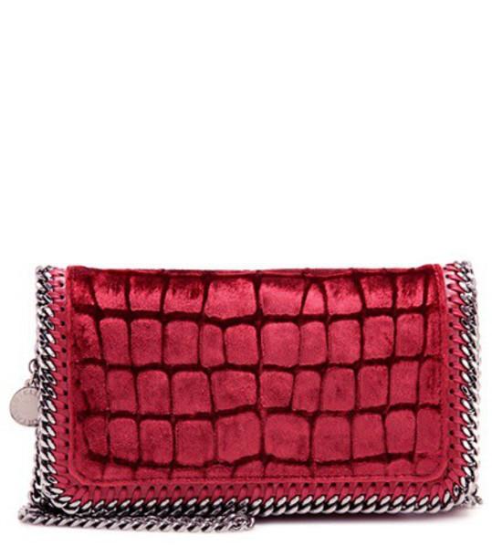 Stella McCartney Falabella Velvet Shoulder Bag in red