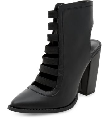 Wide fit black strappy cut out back block heel boots