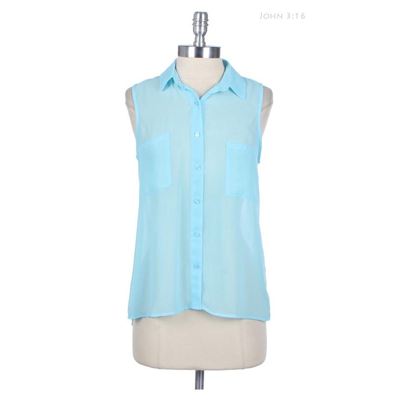 High Low Hem Chiffon Blouse Sleeveless Button Down Shirt with 2 Chest Pockets