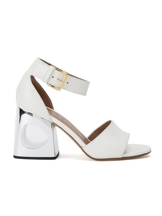 heel sandals white shoes