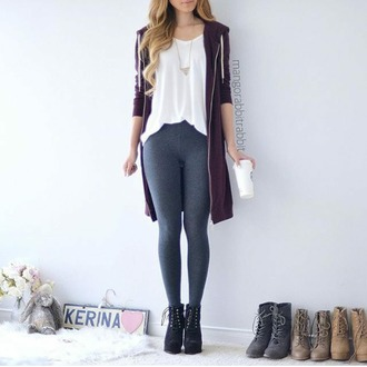 jacket pullover red dark jeans black trousers leggings grey sweater white shirt style boots pumps spring outfits necklace silver