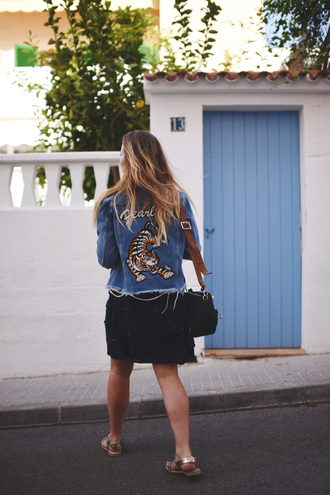 jacket tumblr embroidered embellished jacket embroidered jacket denim jacket denim blue jacket customized dress mini dress black dress sandals flat sandals bag black bag