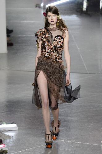 dress lace dress brown fashion week 2016 pumps runway ny fashion week 2016