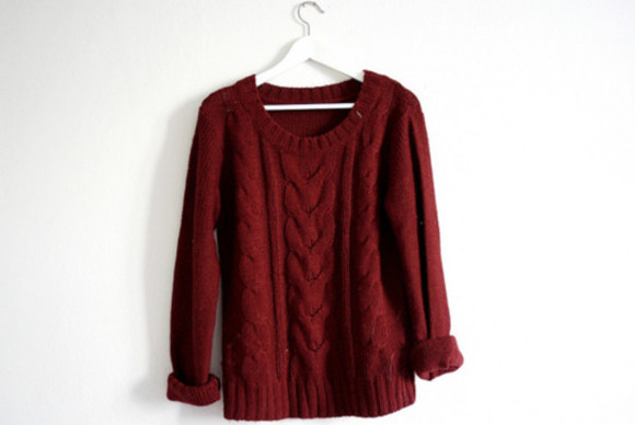 red sweater bordeux warm winter/autumn sweater clothes jumper burgundy knitwear