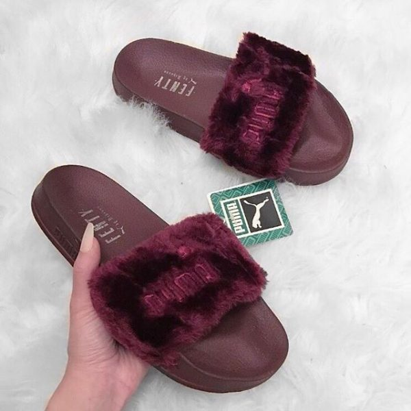 PUMA FENTY FUR SLIDES (BURGUNDY) • Black Royal • Tictail