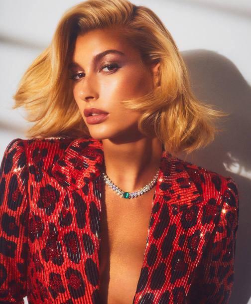 jacket animal print hailey baldwin celebrity editorial blazer red