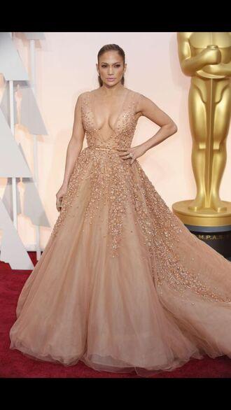 dress jennifer lopez lopez oscars 2015 gown red carpet dress