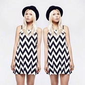 dress,her pony,vintage,monochrome,chevron,print,black and white