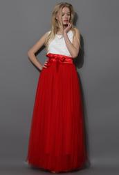 skirt,amore,maxi,tulle skirt,prom,red