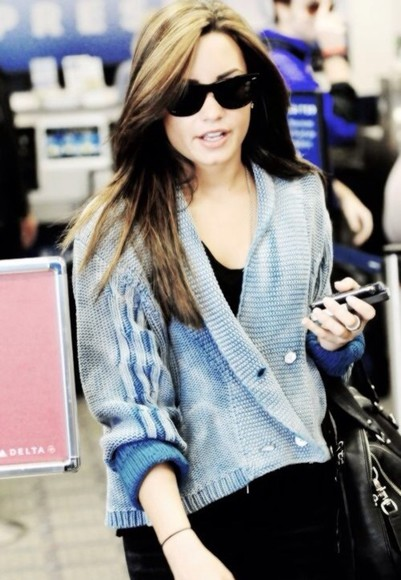 button up light blue sweater demi lovato cute sweaters sunglasses