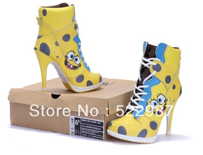Spongebob squarepants leather women ankle boots fashion high heel women sneakers lace up women autumn/winter shoes-in Boots from Shoes on Aliexpress.com