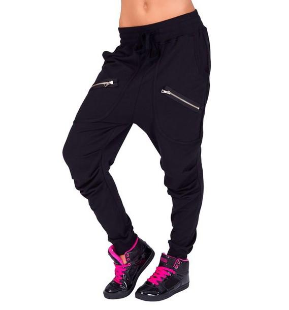 pants dance Chachi Gonzales justin bieber black grey harem zip harem pants zippers joggers
