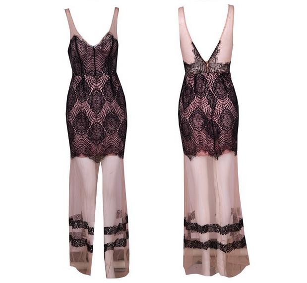 V-neck Lace Stitching Perspective Gauze Dress