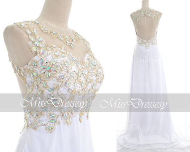 dress prom prom gown white prom 2k15 open back prom dress rhinestones dress evening dress evening dress prom open back prom dress prom dress shoes