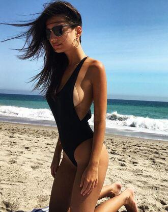 swimwear one piece swimsuit black swimwear beach summer emily ratajkowski sexy jewels sunglasses body chain