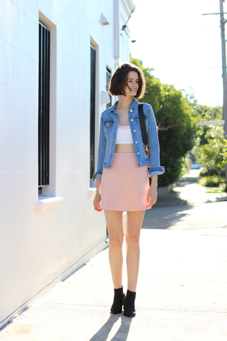 by chill blogger pink skirt white crop tops denim jacket