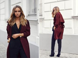 lisa olsson blogger jumpsuit burgundy trench coat