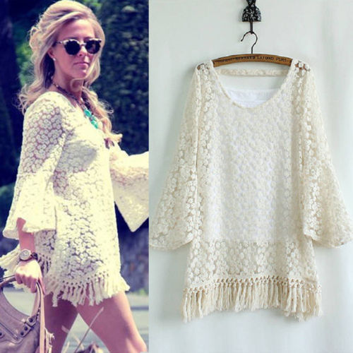 2014 Beige White Tassel dress Lady New Vintage Hippie Boho Gypsy Festival Fringe Lace Mini Dress Top With Vest  655033-in Dresses from Apparel & Accessories on Aliexpress.com
