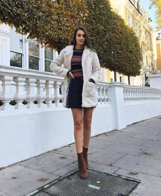 coat tumblr white coat skirt mini skirt stripes striped top boots brown boots ankle boots