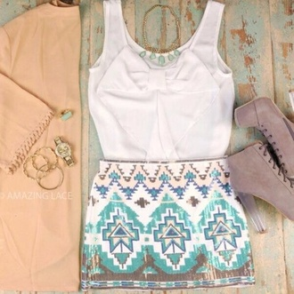 blouse white dress shoes skirt blue short aztec print summer outfits summer cute classy gorgeous shirt