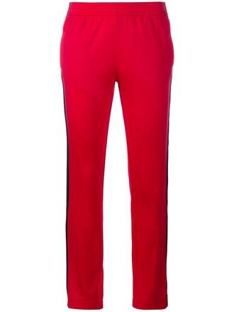 pants track pants women stripes cotton red