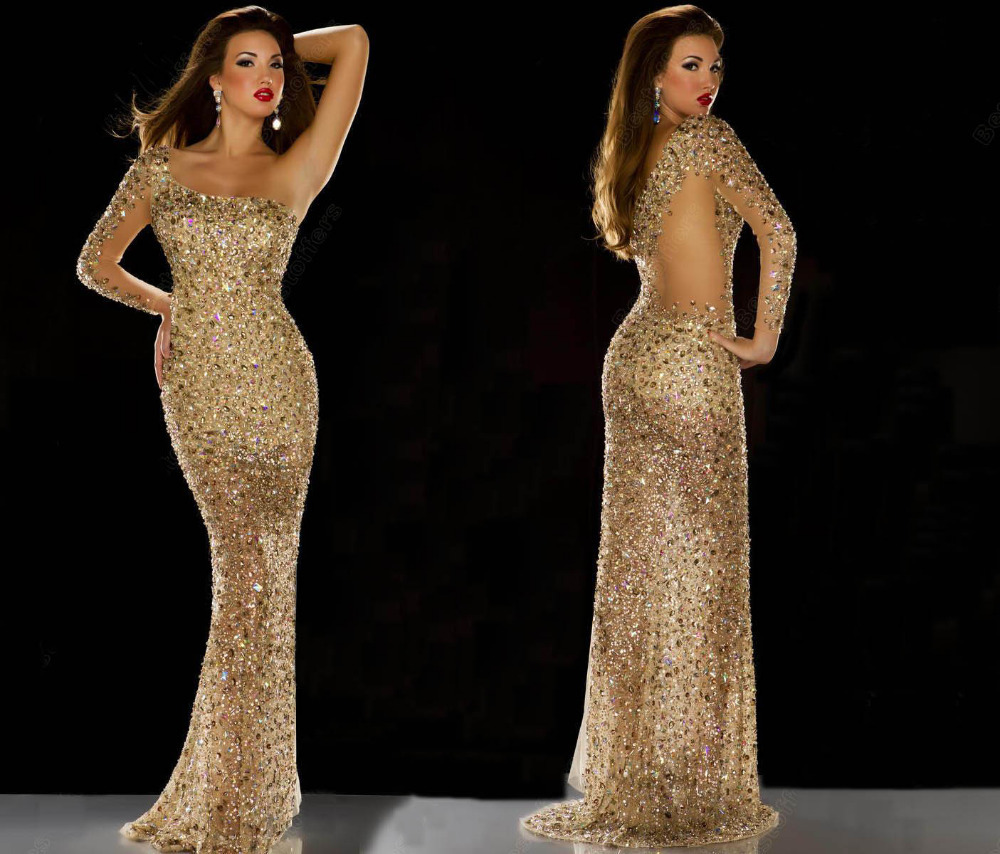 2014 Evening Dresses Miss Universe Dress Nude Gold Rhinestone Covered One Shoulder Long Sleeve  Prom Pageant Dresses-in Evening Dresses from Apparel & Accessories on Aliexpress.com