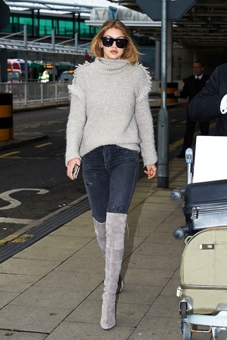 le fashion image blogger sunglasses gigi hadid grey sweater black jeans knee high boots suede boots