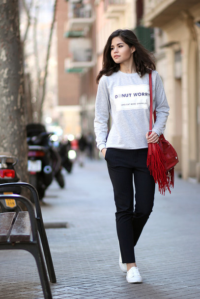 fake leather blogger grey sweater red bag fringed bag black pants sweater dress jacket bag shirt shoes