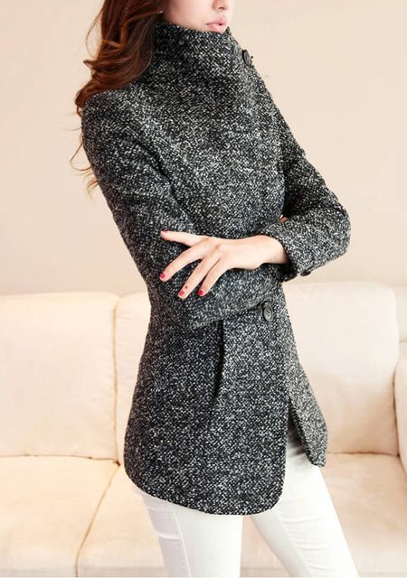 Women's lapel long sleeve solid color slim fit short worsted tweed coat online