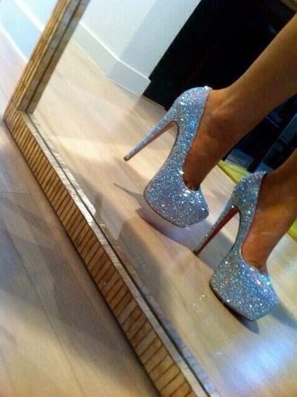 shoes louboutin sparkly red high heels