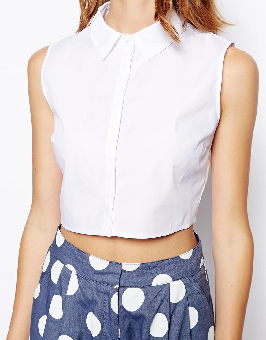ASOS Sleeveless Crop Shirt at asos.com