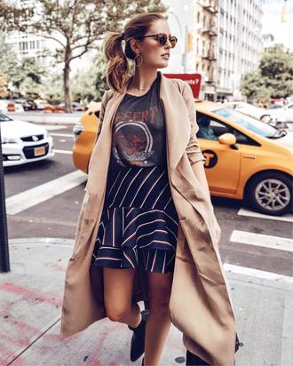 skirt camel coat tumblr midi skirt coat camel t-shirt black t-shirt stripes striped skirt