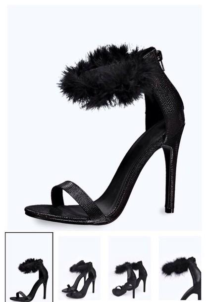 shoes heels black heels strappy fur heels black fur