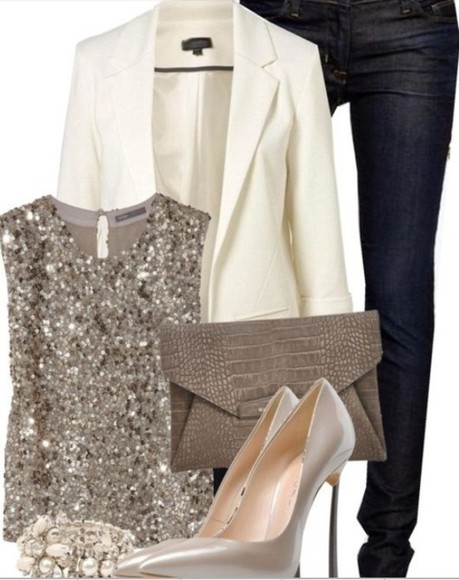 glitter gold gold sequins jacket blazer white blazer blouse sequins sparkle cream jeans denim clutch high heels bag shoes