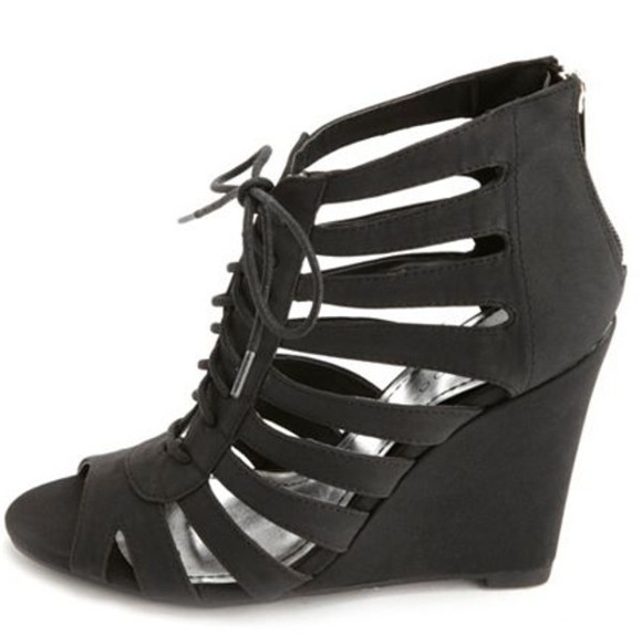 shoes wedge black wedges